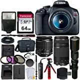 Canon EOS Rebel T7 Digital SLR Camera + EF-S 18-55mm is II Lens + EF 75-300mm Lens + 500mm Telephoto Lens + Canon Bag + Filter Kit + 64GB Memory Card + Flash + Remote + Tripod - Professional Bundle