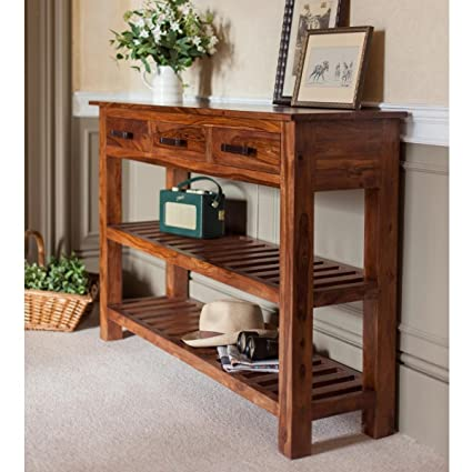Ordinaire Lifeestyle Sheesham Wood Console Table With 3 Drawers