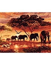 CaptainCrafts New DIY Paint by Numbers 16x20  for Adults Beginner kit, Kids LINEN Canvas - Dawn Forest Elephant Family (With Frame)