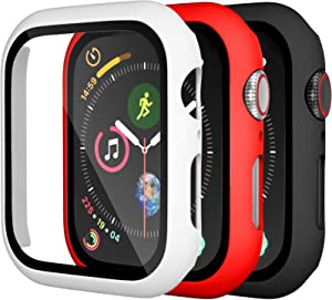 Charlam Compatible for Apple Watch Case 38mm iWatch Series 3 2 1 with Screen Protector Accessories Slim Guard Thin Bumper Full Coverage Hard Cover Defense Edge for Women Men, Black White Red, 3 Pack
