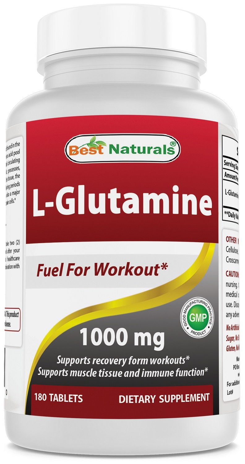 Best Naturals L-Glutamine 1000mg Fuel for Workout Non-GMO Tablets, 180 Count
