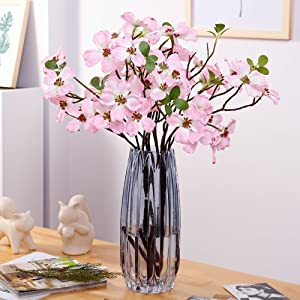 YILIYAJIA 4PCS Artificial Dogwood Blossom Silk Flowers Bridal Flowers Bouquets Fake Cornus Bush for Wedding Home Office Decoration(Pink)