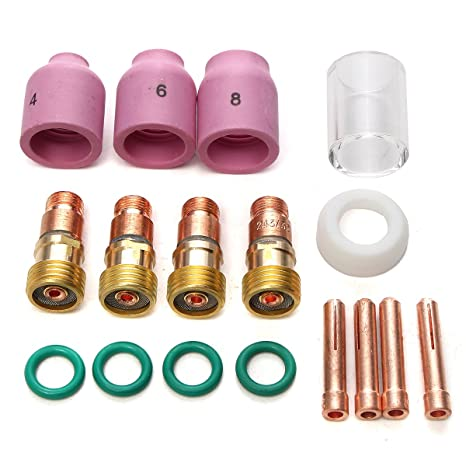 OlogyMart 17Pcs WP17//18//26 2.4mm 3//32inch TIG Stubby Gas Lens Ceramic Nozzle /& Pyrex Cup Kit