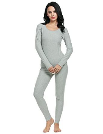 Vansop Womens Long Sleeve Onesie Union Suit Thermal Underwear Set Sleepwear Pajama Jumpsuit Union (Grey
