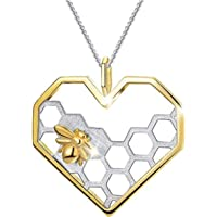 Golden Bee on Heart-Shaped Hexagon Honeycomb Charm Pendant Necklace by Adorit, Fashion Jewelry Accessories Gifts for Women Men Girls Boys