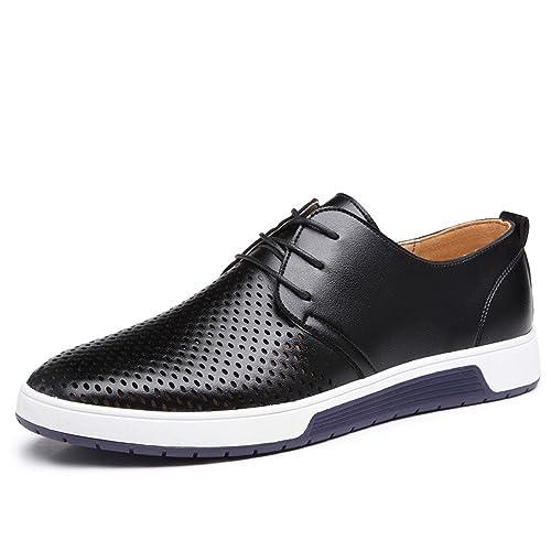 Casual Zapatos de Cuero para Hombre, Comodos Zapatos Cordones Derby Diseño Hueco Transpirable Calzado Oxford para Boda Negocio Vestir