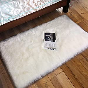 Andecor Soft Fluffy Faux Fur Bedroom Rugs 2 x 3 Feet Indoor Wool Sheepskin Area Rug for Girls Baby Living Room Chair Sofa Home Decor Floor Carpet, White