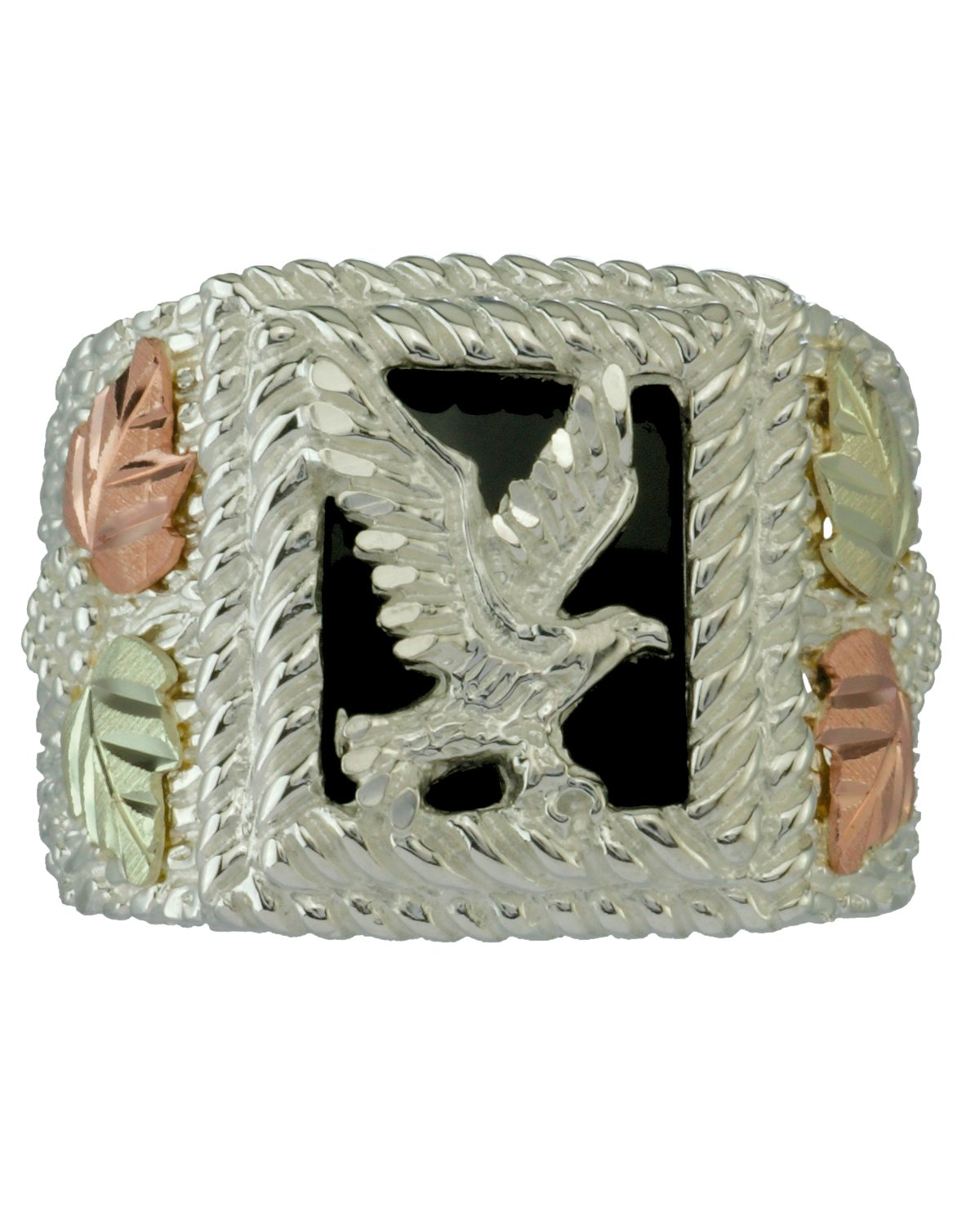 Men's Onyx American Eagle Signet Ring, Sterling Silver, 12k Green and Rose Gold Black Hills Gold Motif, Size 8 by Black Hills Gold Jewelry (Image #1)