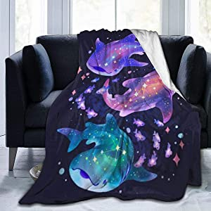 321DESIGN Cosmic Whale Shark Fleece Flannel Throw Blanket Sherpa Microfiber Lightweight Plush for Couch Bed Sofa Car Kids Adults Pets All Seasons Multi-Size 50x40IN Kid Small