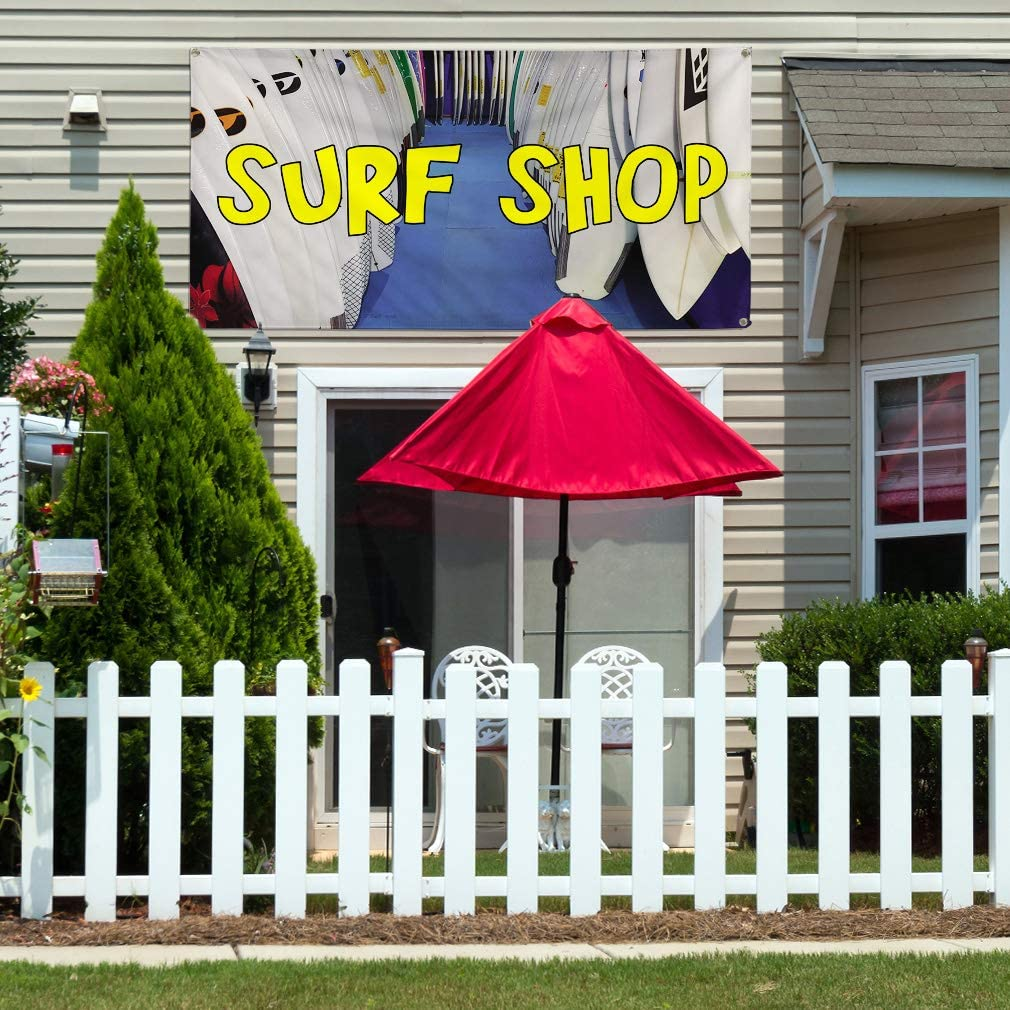 Set of 2 Vinyl Banner Sign Surf Shop #2 Business Surf Shop Outdoor Marketing Advertising White 6 Grommets Multiple Sizes Available 32inx80in