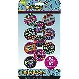Pins 80s Imprimé Badge Anniversaire Fluo 10 pièces Insigne Années 80 Broche Néon Accessoire Bad Taste Party