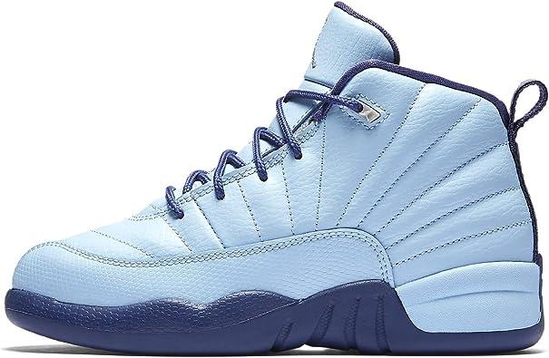 Jordan Air Retro 12 GP Girls Preschool Basketball Shoes Blue/Metallic Silver 510816-418