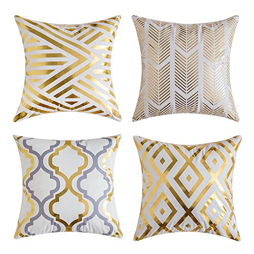 MIULEE Pack of 4, Gold Stamping Soft Soild Decorative Outdoor Square Throw Pillow Covers Set