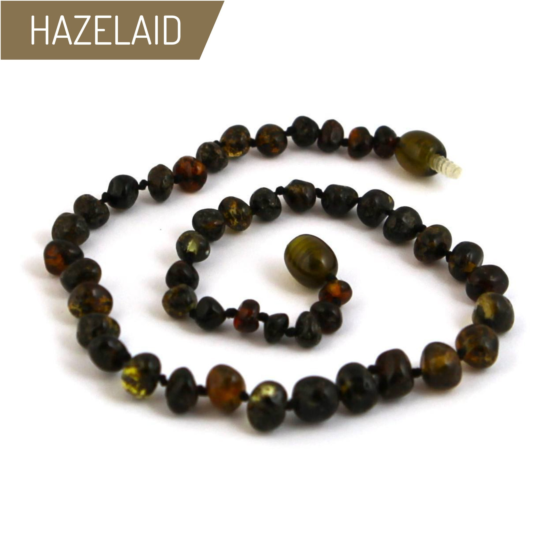 Hazelaid (TM) 14'' Twist-Clasp Baltic Amber Dark Green Necklace
