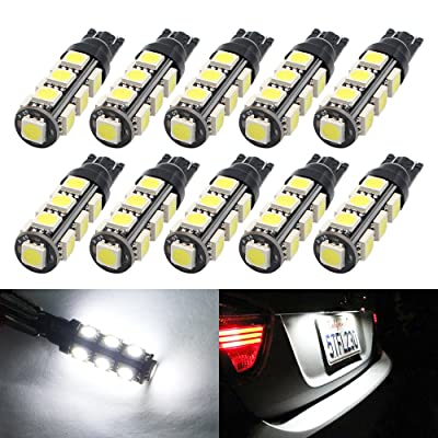 Boodled T10 Wedge 13-SMD 5050 LED Light bulbs W5W 2825 158 192 168 194 for RV Car Boot Trunk Map Light Number Plate License Light 10-pack.Xenon White.: Automotive