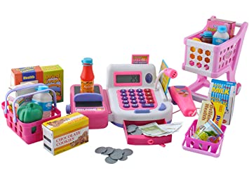 ISO TRADE Caja registradora de Juguete para niños - Conjunto de XXL con Carro de Compra y cestas #4512: Amazon.es: Juguetes y juegos