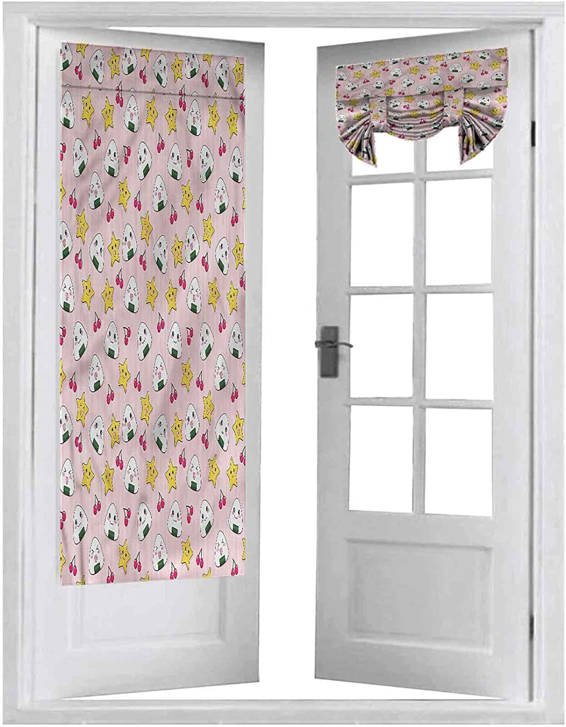 Blackout Curtain for French Doors, Anime,Japan Funny Food Pattern, 2 Panels-26