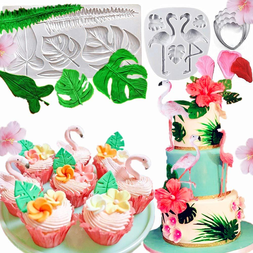 Set of 7 JeVenis Gorgeous Tropical Wedding Cake Mold Flamingo Mold Hawaiian Flower Mold Palm Leaves Mold Tropical Cake Decoration for Hawaiian Summer Luau Tropical Party Decoration