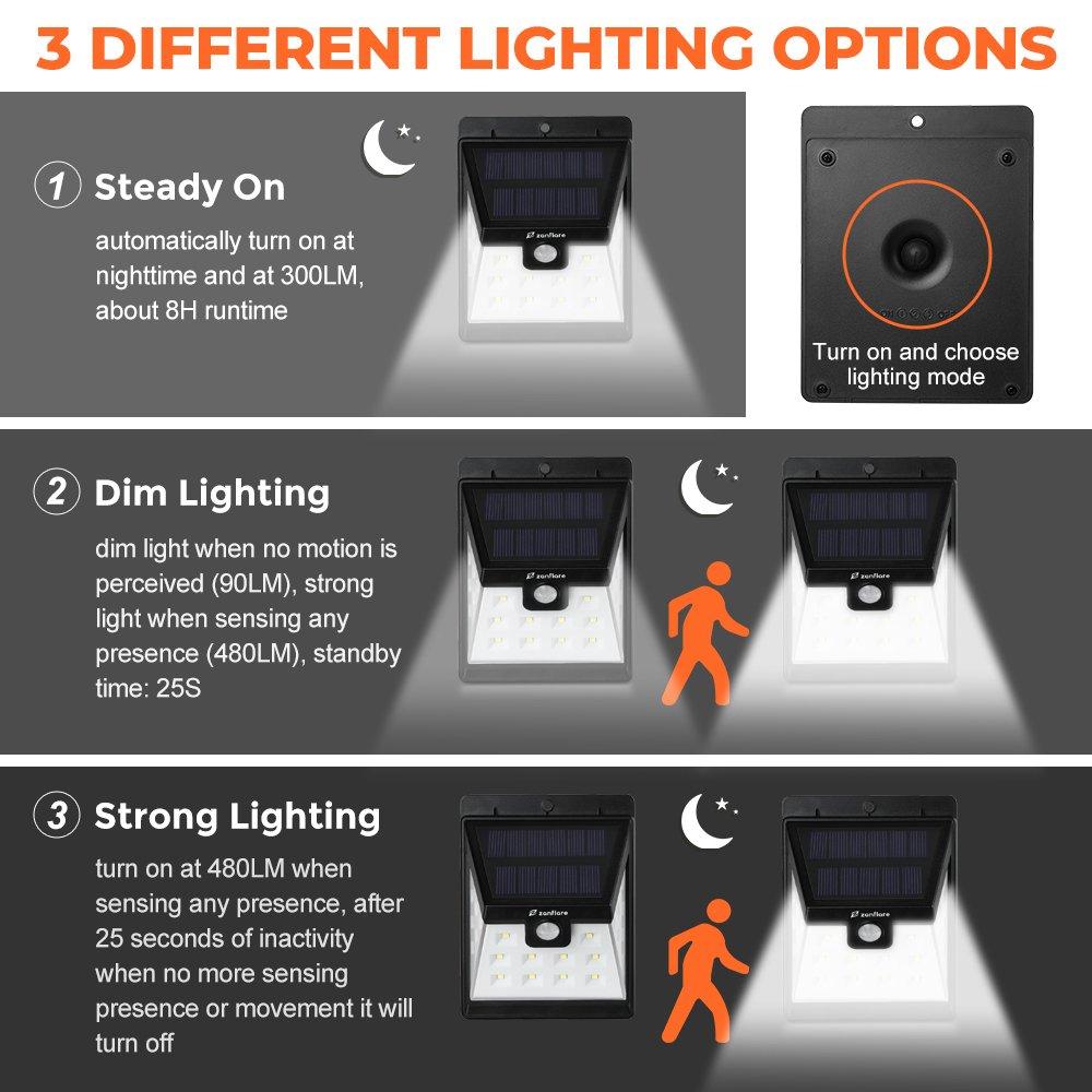 【4 Piezas】 Zanflare 22 LED Lámpara solar de jardín, Lámpara de energía solar al aire libre a prueba de agua IP 65 con sensor de movimiento.