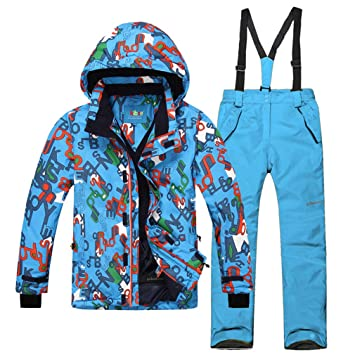 89ad554dba emansmoer Children s Ski Suit Snow Set Windproof Cotton Padded Winter Sport  Skiing Jacket Snowboard Pants Salopettes