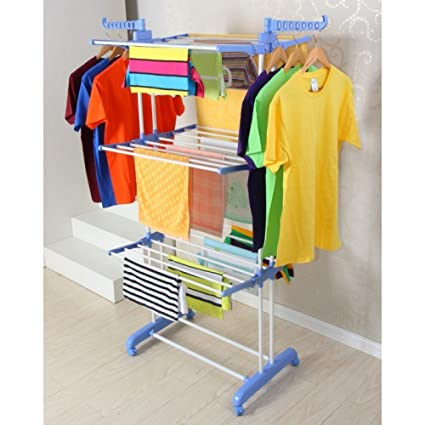 Saimani Foldable Rolling Clothes Laundry Drying Rack Double Pole
