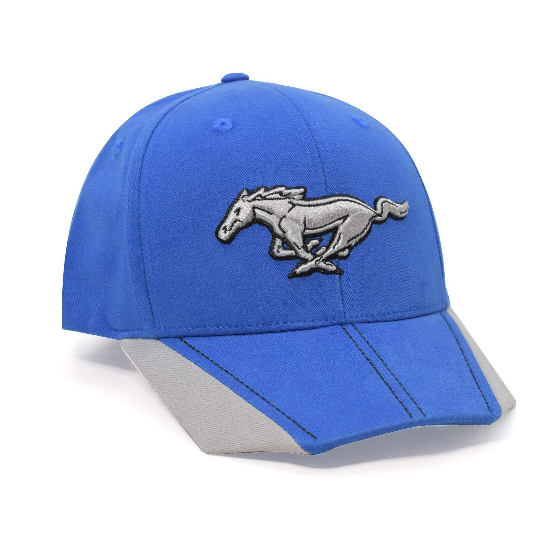 Checkered Flag for Ford Mustang Hexagonal Visor Bill Blue Baseball Cap