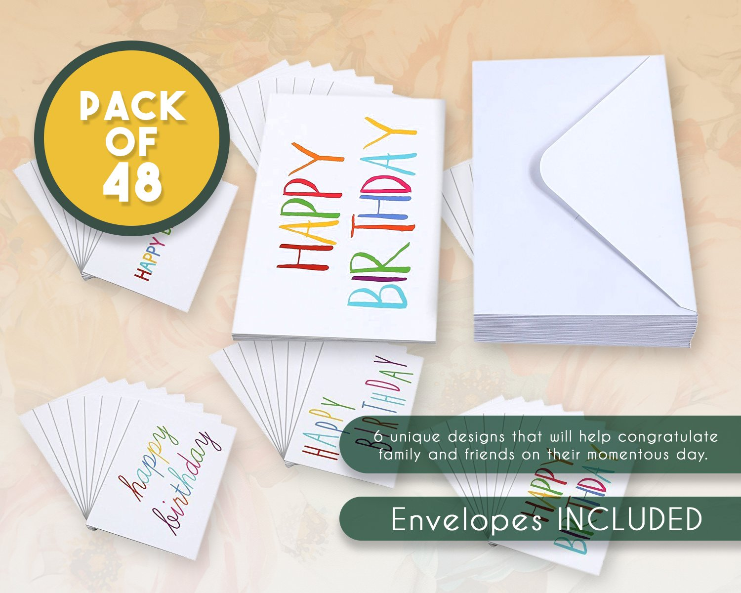 Birthday Cards Bulk 48 Pack Blank Happy Greeting 6 Colorful Rainbow Font Designs Envelopes Included