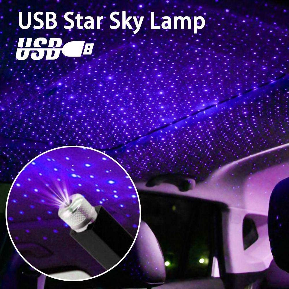 SELUXU-News Universal USB Mini Car Ceiling Starlight Projection LED Light Atmosphere Lamp Roof Roof Light Plafond Projector for Kids for Bedroom Car Party Ceiling and More