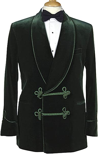 Pinkcityart Mens Elegant Quilted Green Velvet Smoking Jacket Hosting Evening Dinner Jacket Blazer