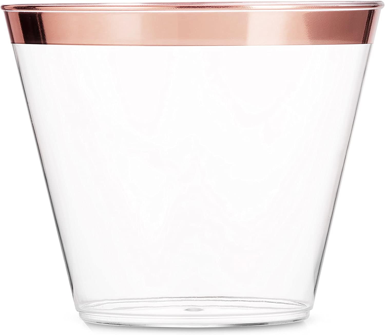 Disposable Plastic Cups Rose Gold Rimmed Transparent Tableware for Party