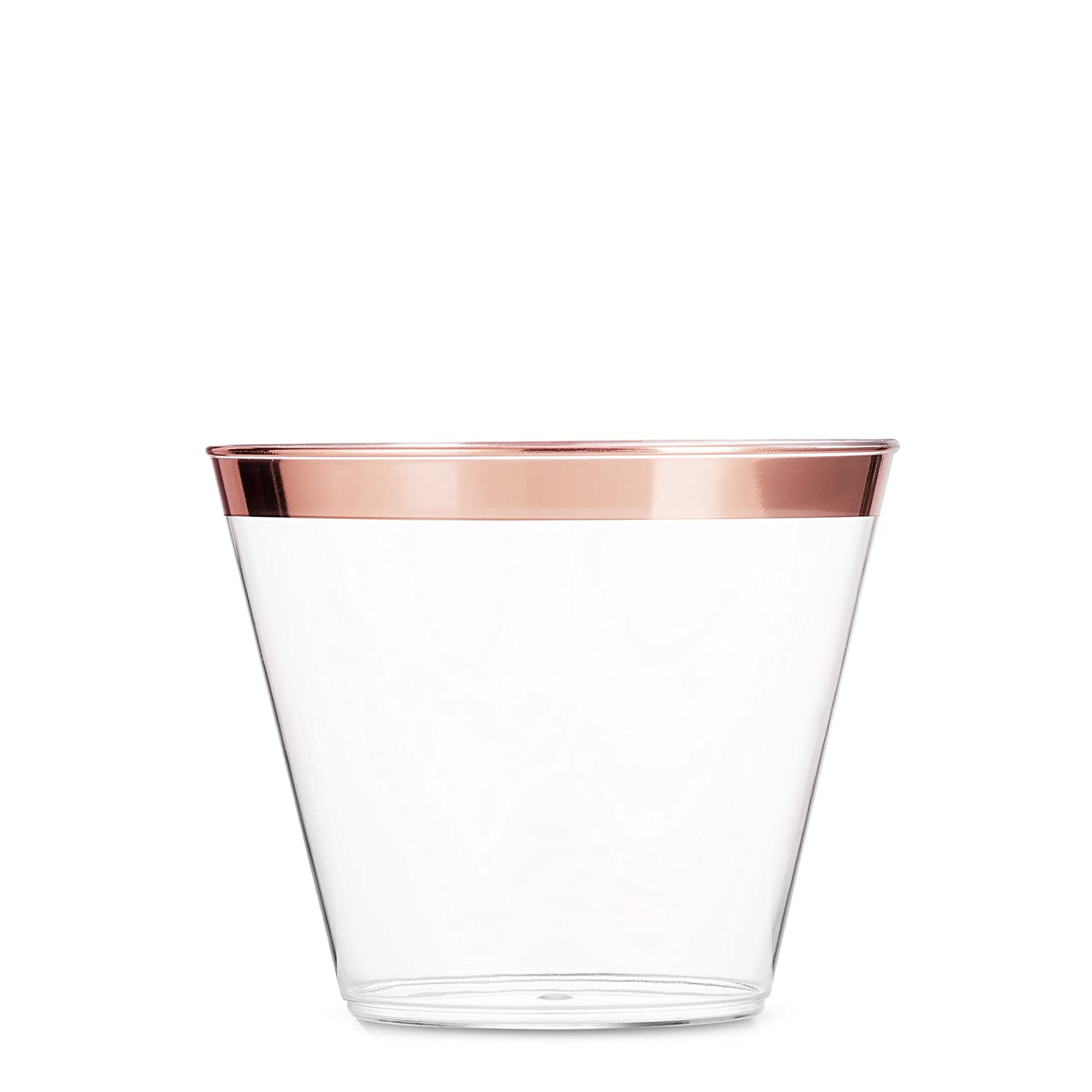 100 Rose Gold Plastic Cups ~ 9 Oz Clear Plastic Cups Old Fashioned Tumblers ~ Rose Gold Rimmed Cups Fancy Disposable Wedding Cups ~ Elegant Party Cups with Rose Gold Rim