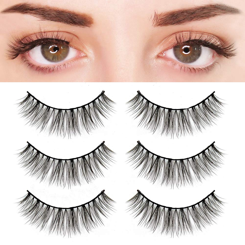 f9486ad1fe4 Amazon.com: BEPHOLAN 3 Pairs False Eyelashes Synthetic Fiber Material| 3D Mink  Lashes| Natural Round Look| Soft & Lightweight| 100% Handmade  &Cruelty-Free| ...