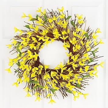 floral forsythia twig 22 door wreath yellow