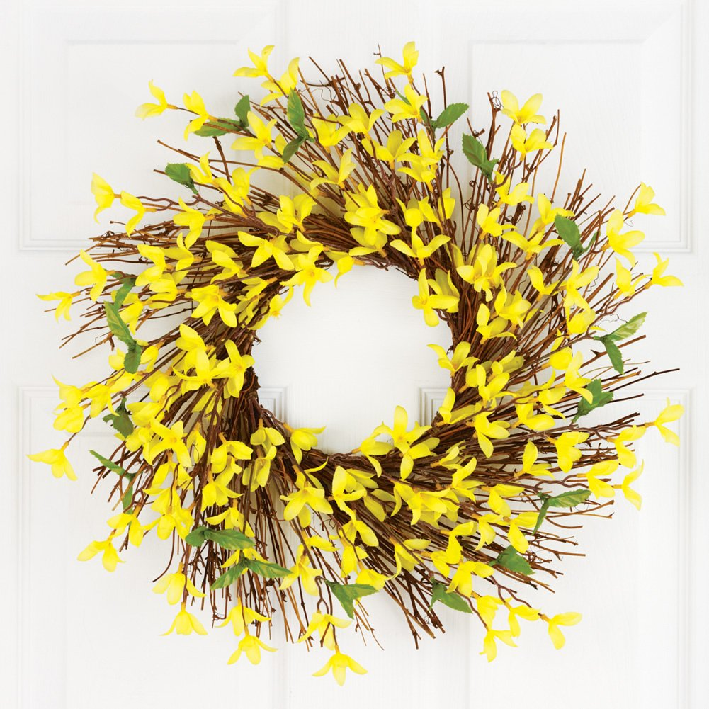 Collections Etc Spring Forsythia Floral Twig Door Wreath - Seasonal Door Accent for Any Room, Yellow