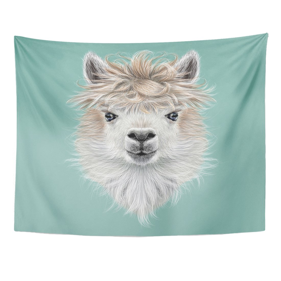 TOMPOP Tapestry America Llama Animal Portrait of Alpaca on Blue Home Decor Wall Hanging for Living Room Bedroom Dorm 60x80 Inches