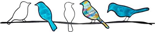 WorkingWonders Birds on a Wire Metal Wall Art Fair Trade, Hand-Painted, 29 inches Long x 1 inch Wide x 6 inches high