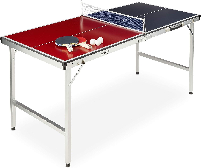 Relaxdays Mesa Ping Pong Plegable, Set con 2 Palas, Red y 3 Pelotas, DM y Aluminio, 67,5 x 151 x 67,5 cm, Azul y Rojo, Adultos Unisex