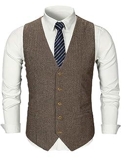 9c8901226a GHYUGR Chaleco Hombre Un Solo Pecho Trajes de Negocios Blazer Sin Manga  Cuello en V Tweed