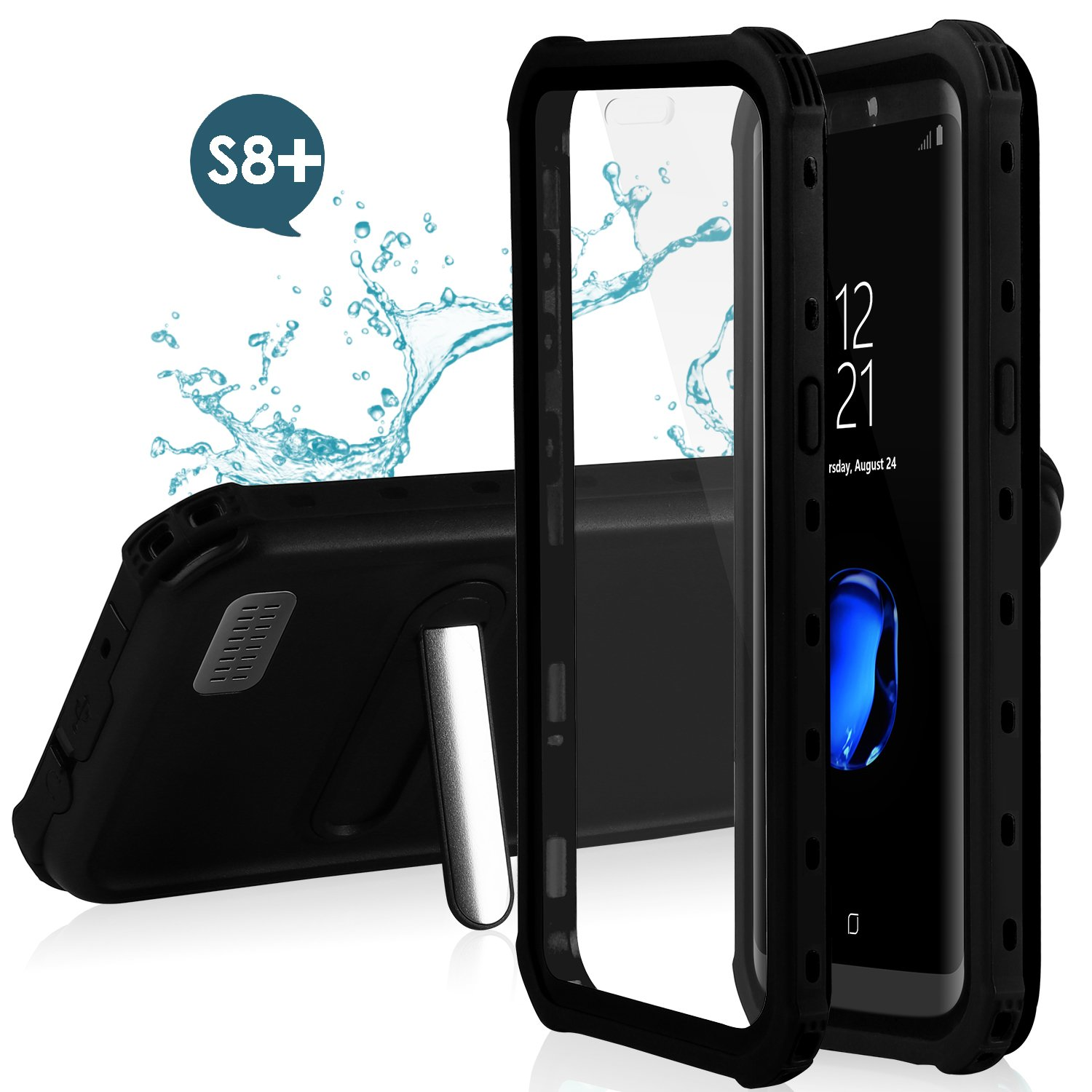 Feagar Samsung S8+ Plus Waterproof Case | Underwater Full Body Snow-Proof Shock-Proof Dirt-Proof Hard Cover for Samsung Galaxy S8+ (6.2'') |Touch ID Available | Access to All Functions S8+-dot-black