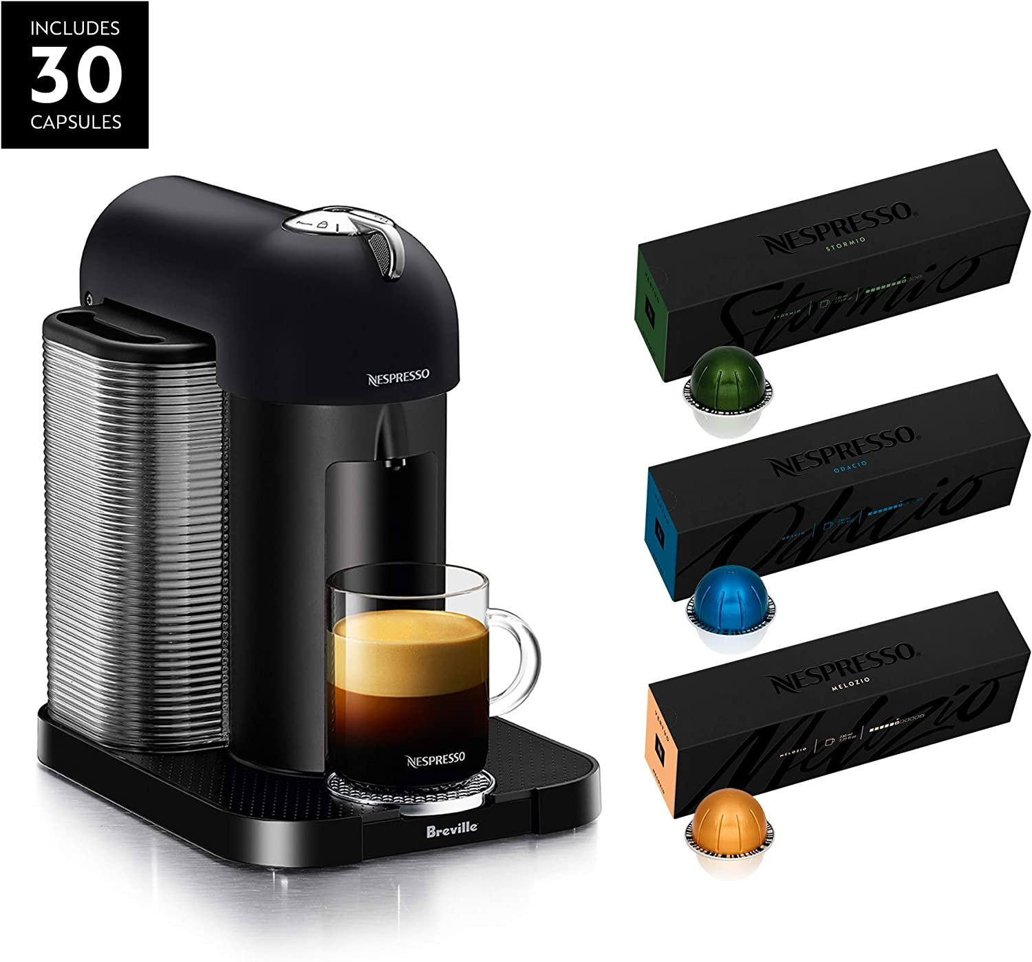 Nespresso Vertuo Coffee and Espresso Maker by Breville, Matte Black with BEST SELLING VERTUOLINE COFFEES INCLUDED