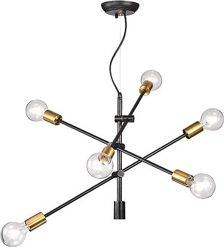 Jojospring Lorena Sputnik Antique Black and Metallic Gold Finish Industrial Chandelier