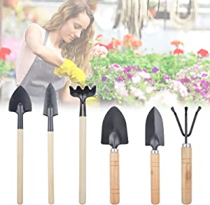 6PCS Mini Garden Tools, Kids Gardening Tools Set, Small Digging Shovel Pot Flower Gadget Houseplants Rake Shovel Spade Gardening Tools for Transplanting Seedlings Outdoor