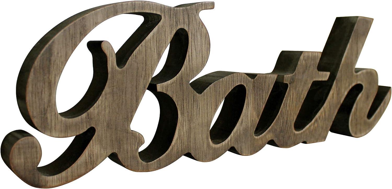 CVHOMEDECO. Primitives Rustic Wood Words Sign Free Standing Bath, Bathroom/Home Wall/Door Decoration Art (Natural 2)