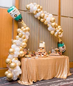 107 Pieces Champagne Balloon Garland Arch Kit, Inculding 2Pcs 40inch Champagne Beer Bottle Balloon, Gold Balloons, Clear Balloons, White Balloons for Birthday Wedding Bridal Baby Shower Decor Bachelorette Engagement Anniversary Baptism Party Balloons Decorations, Globos Para Fiestas Birthday Party Supplies for Boy or Girl.
