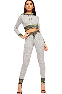 59508c7785b94 WearAll Women's Camouflage Print Long Sleeve Hood Crop Top Leggings Ladies  Loungewear Set 8-14