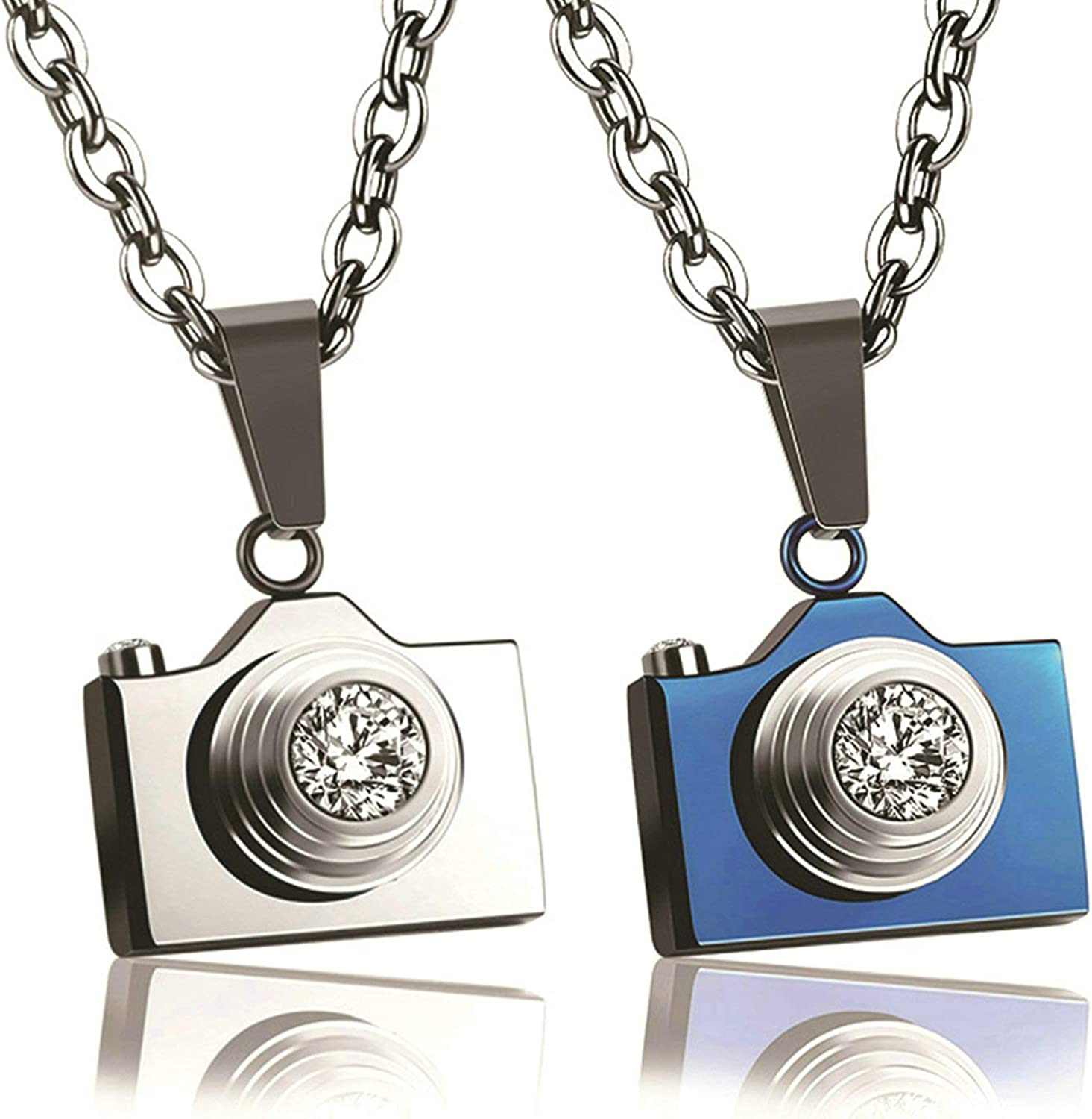 Aooaz Personalized Necklace Stainless Steel Anniversary Necklace Camera Shape with Crystal Necklace for Him and Her Silver Blue