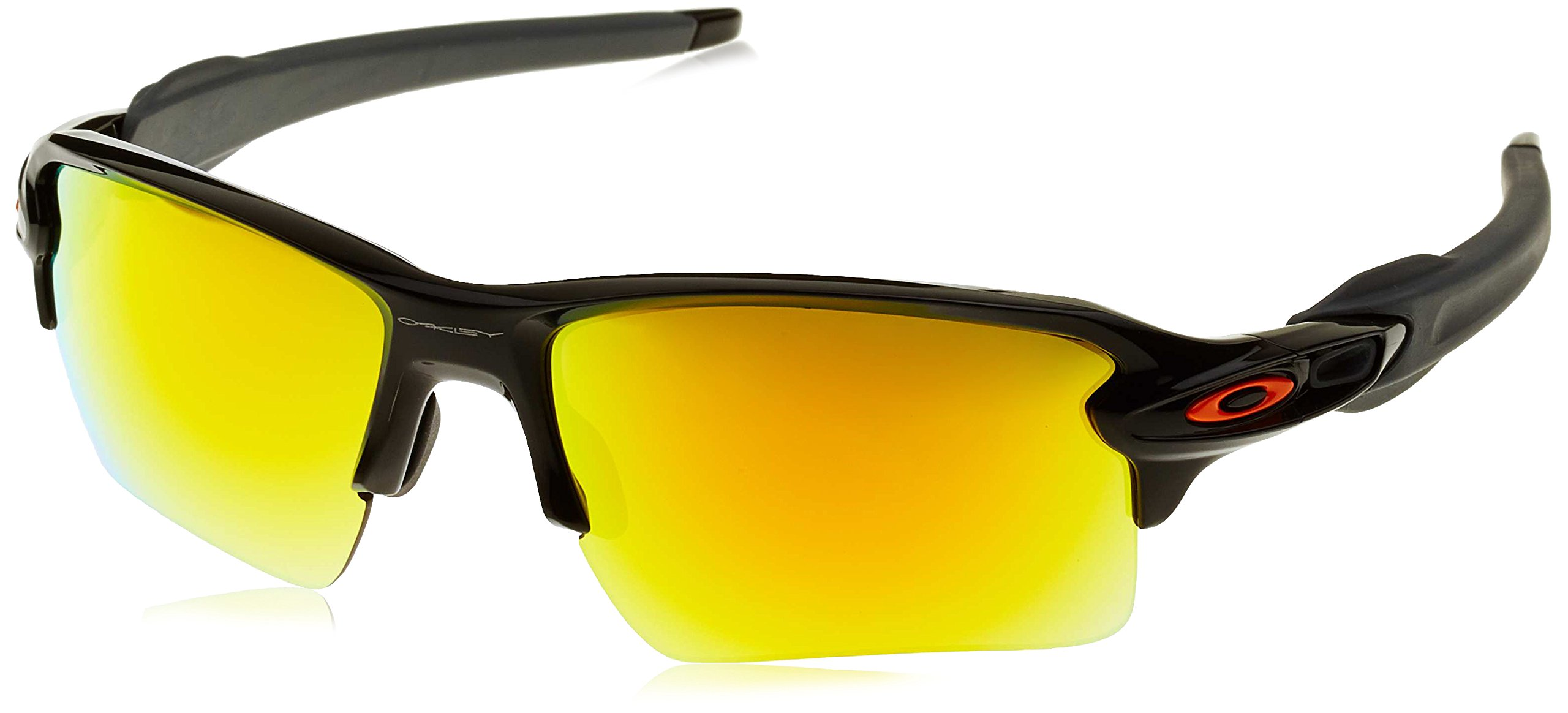 Oakley Men's Flak 2.0 Xl Non-Polarized Iridium Rectangular Sunglasses, Polished Black w/Fire Iridium, 59 mm