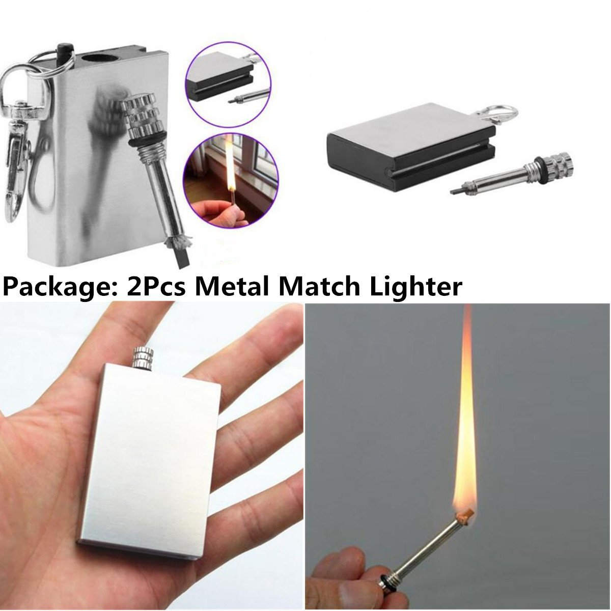 2PCS mini acciaio INOX permanente Fire metal partite accendino con portachiavi smoking Striker Lighter Ltd