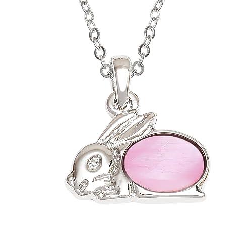 Tide Jewellery - Collar con colgante de conejo incrustado con concha de nácar rosa de 45