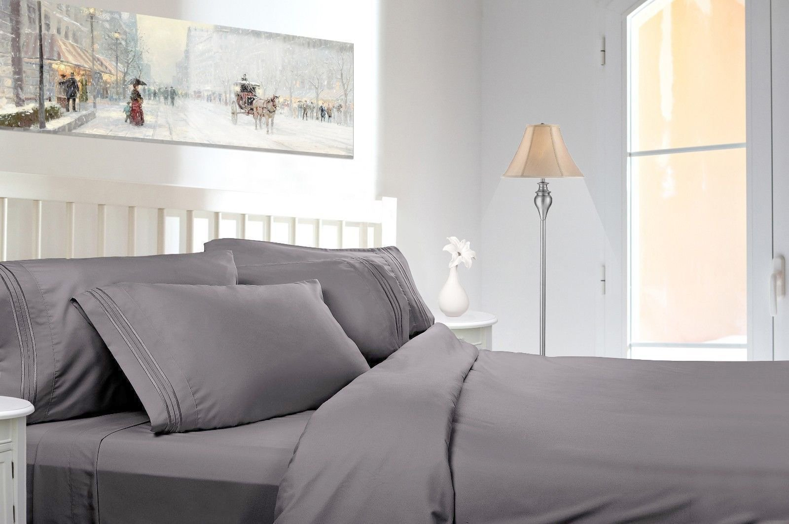 """Luxury Egyptian Comfort 1800 Series Wrinkle Free 6 Piece Sheet Set, Full Size, Gray - 1 flat sheet (88""""x99""""), 1 fitted sheet (60""""x80"""") and 2 pillowcases (20""""x30"""") + 2 bonus pillowcases Long lasting breathable microfiber material Oversized for better coverage on today's deeper mattresses - sheet-sets, bedroom-sheets-comforters, bedroom - 71cqwp5MkRL -"""